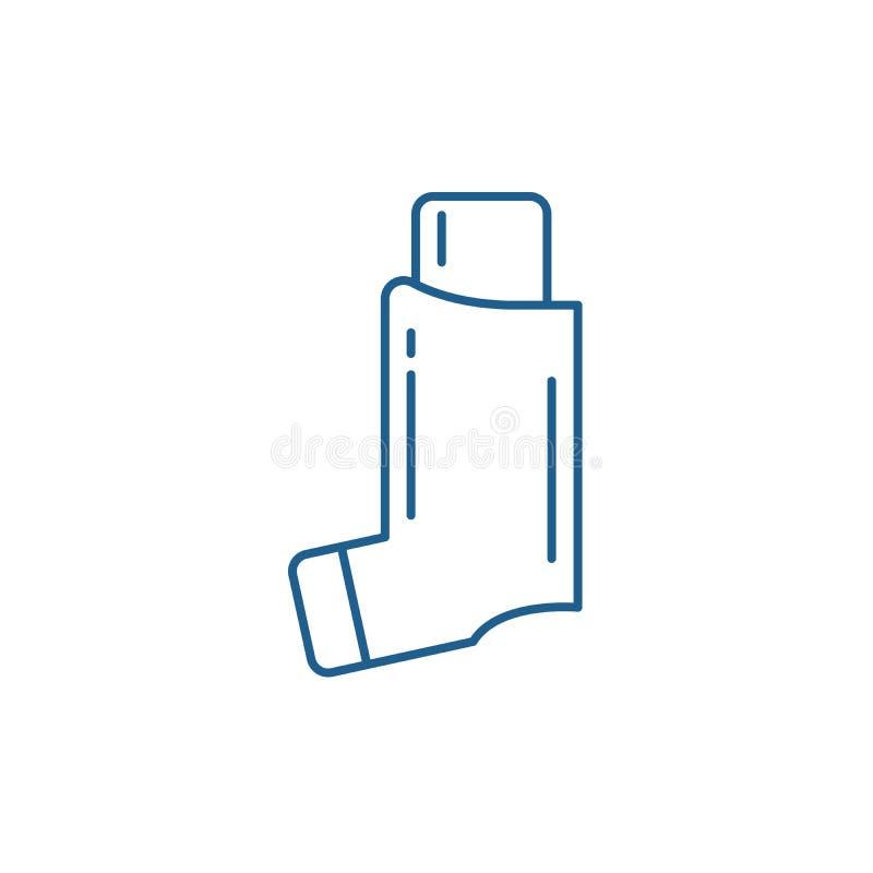 Linje symbolsbegrepp för bronkial astma Plant vektorsymbol för bronkial astma, tecken, översiktsillustration vektor illustrationer