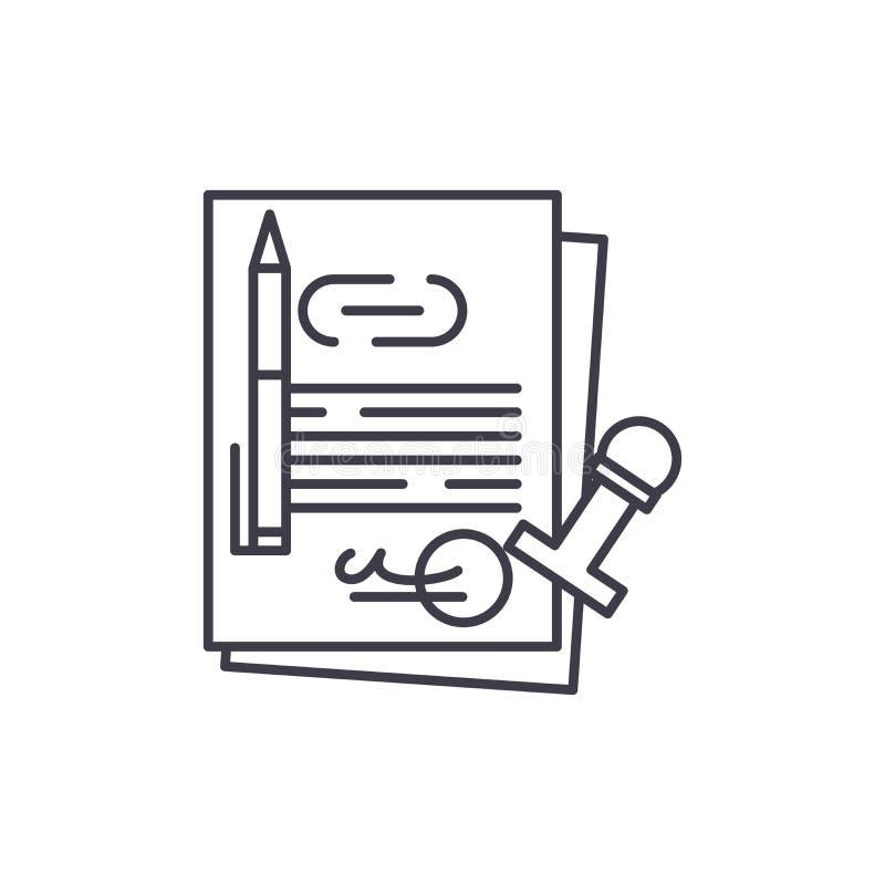 Linje symbolsbegrepp för företags lag Illustration för vektor för företags lag linjär, symbol, tecken royaltyfri illustrationer