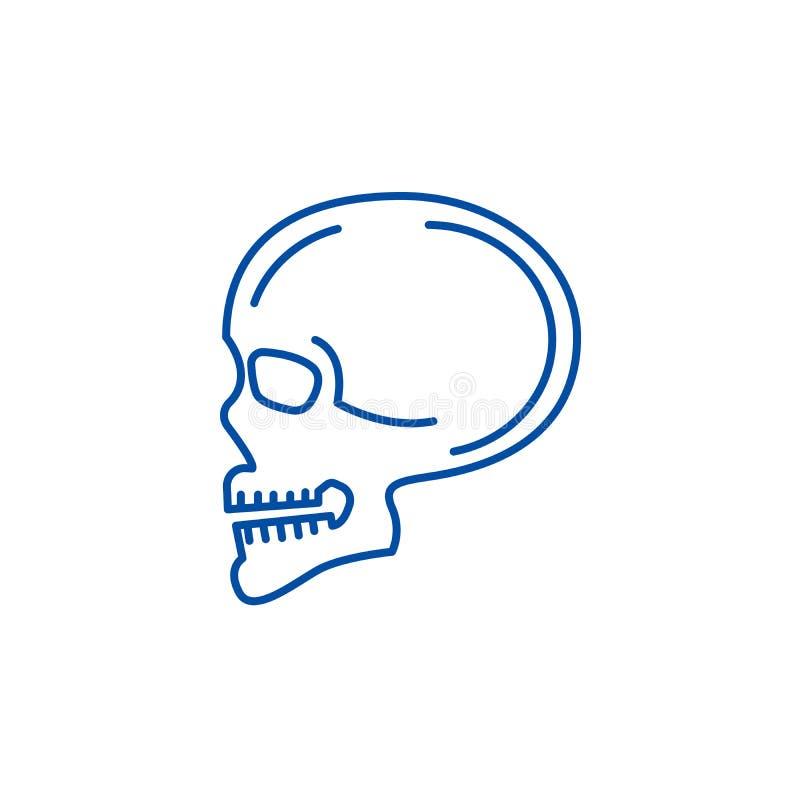Linje symbolsbegrepp för främre sikt för skalle Symbol för vektor för främre sikt för skalle plant, tecken, översiktsillustration royaltyfri illustrationer