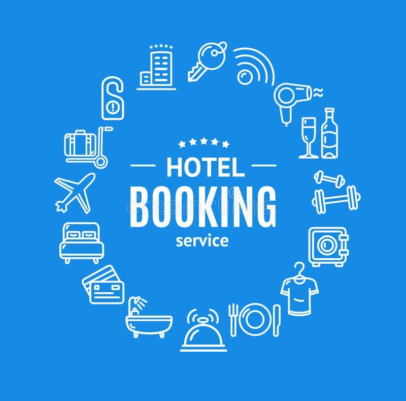 Linje symbolsbegrepp för mall för design för runda för hotellbokning vektor stock illustrationer