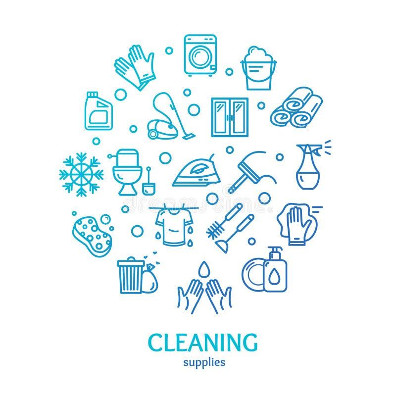 Linje symbolsbegrepp för mall för design för runda för hushåll- och lokalvårdhjälpmedelfärg vektor vektor illustrationer