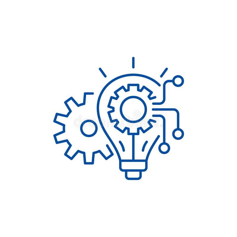 Linje symbolsbegrepp för tekniksystem Symbol för vektor för tekniksystem plant, tecken, översiktsillustration stock illustrationer
