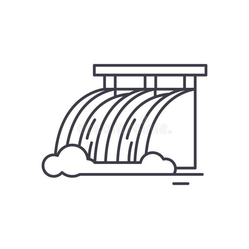 Linje symbolsbegrepp för vattenkraftstation Illustration för vektor för vattenkraftstation linjär, symbol, tecken royaltyfri illustrationer