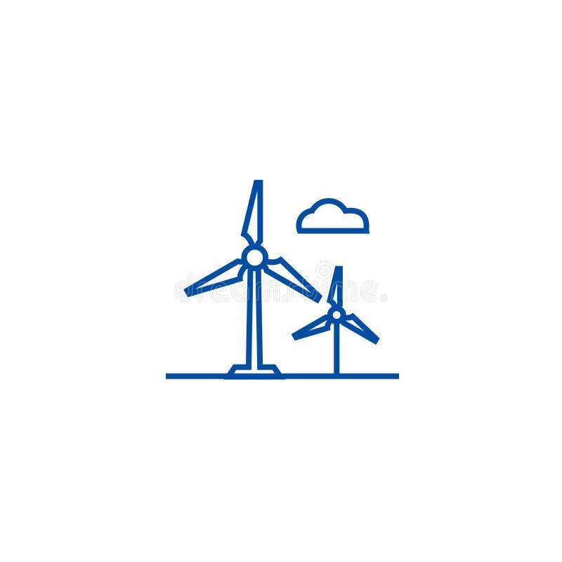Linje symbolsbegrepp för vindturbin Symbol för vektor för vindturbin plant, tecken, översiktsillustration stock illustrationer