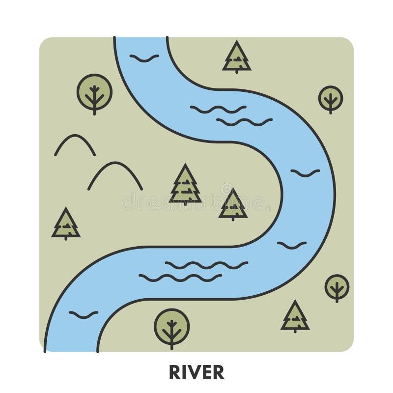 Linje symbolsflod i färg stock illustrationer