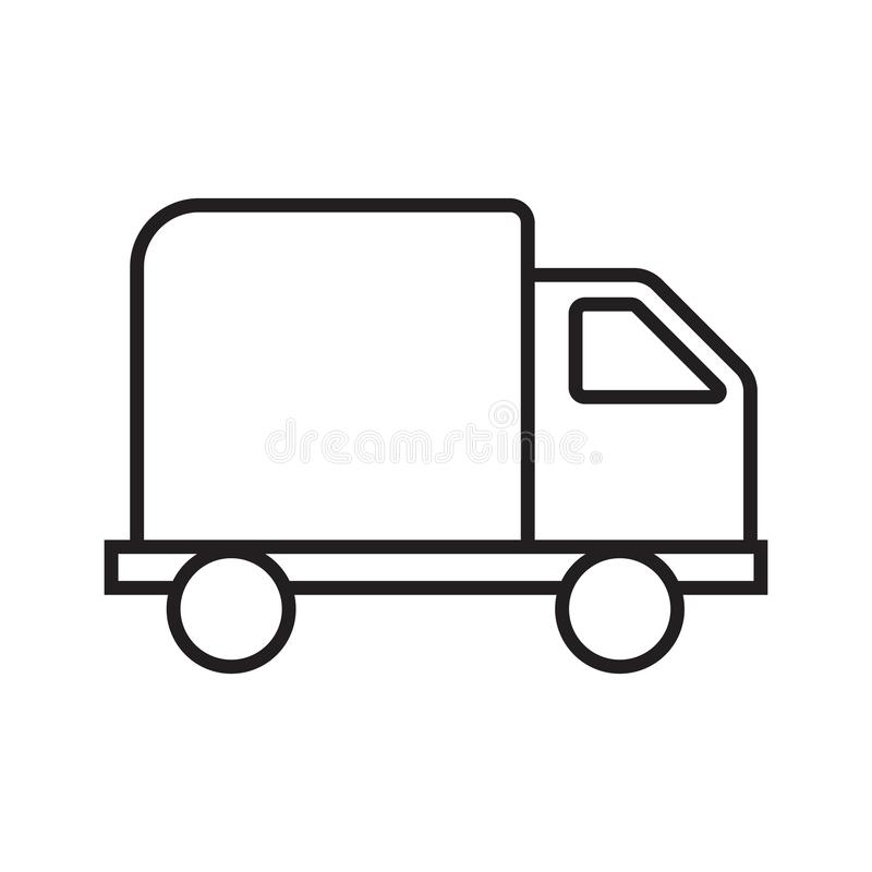 Linje symbolslastbil stock illustrationer