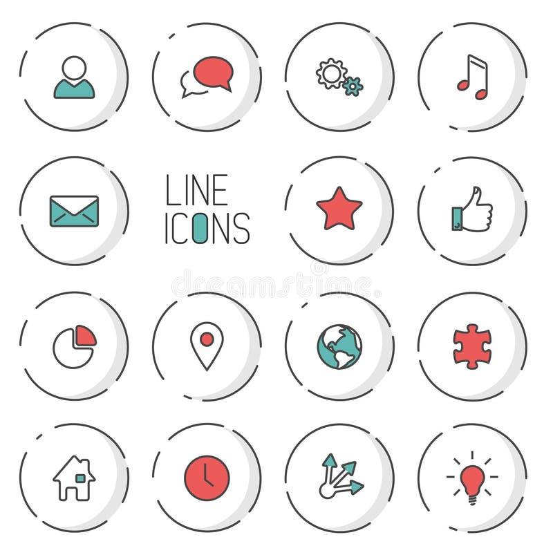 Linje symbolssamling för modern cirkel för vektor tunn royaltyfri illustrationer