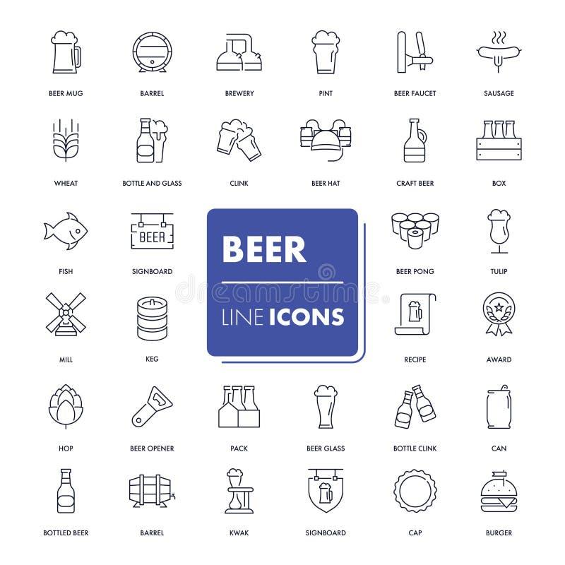 Linje symbolsuppsättning Öl stock illustrationer
