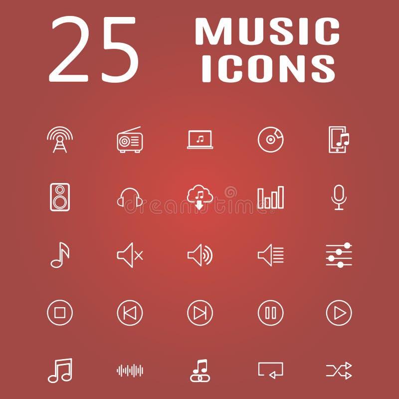 25 linje symbolsuppsättning stock illustrationer