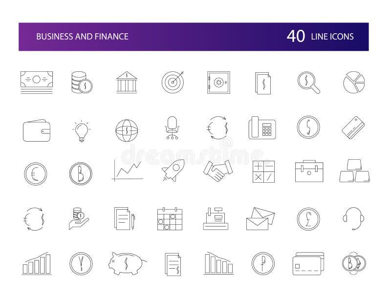 Linje symbolsuppsättning Affärs- och finanspacke royaltyfri illustrationer