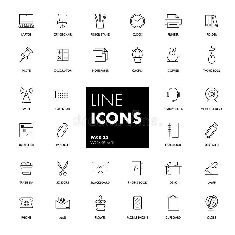 Linje symbolsuppsättning arbetsplats vektor illustrationer