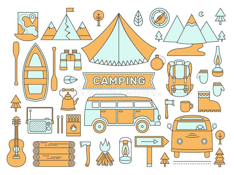 Linje symbolsuppsättning av att campa vektor illustrationer