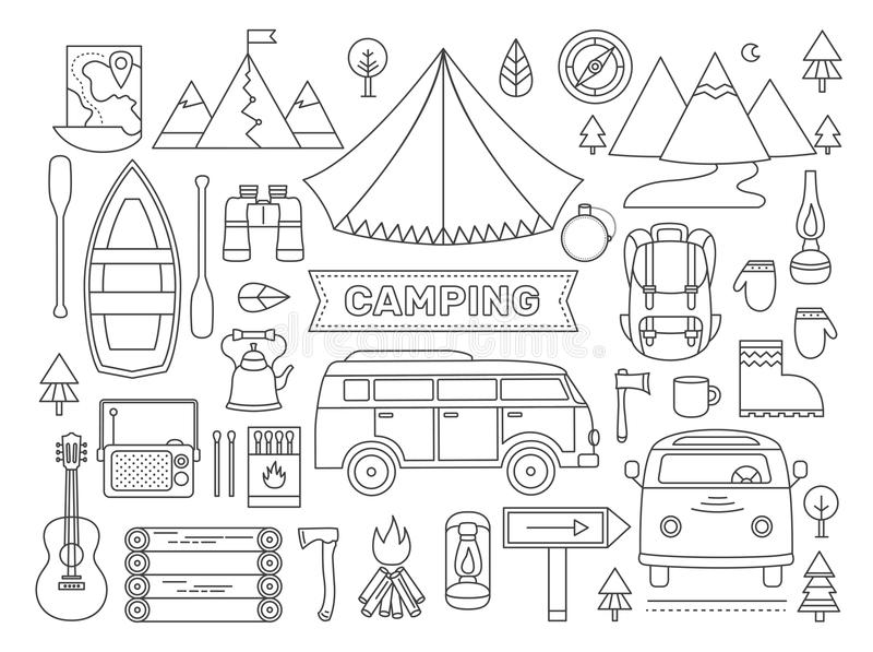 Linje symbolsuppsättning av att campa stock illustrationer