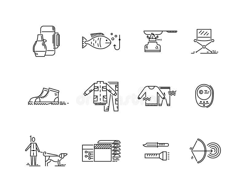 Linje symbolsuppsättning av att campa för jaktfiske vektor illustrationer