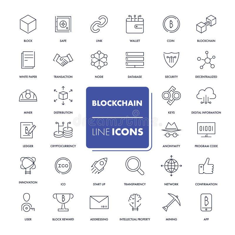 Linje symbolsuppsättning Blockchain royaltyfri illustrationer