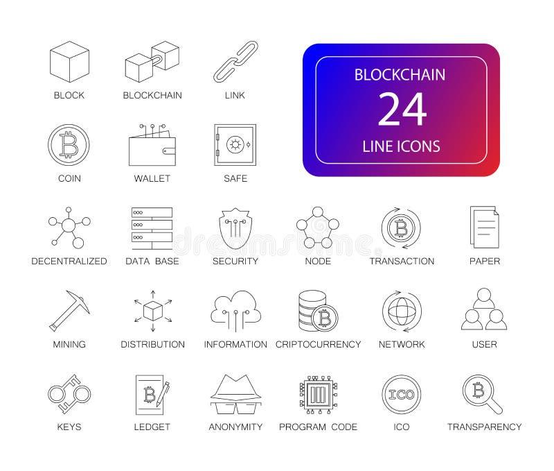 Linje symbolsuppsättning Blockchain packe royaltyfri bild