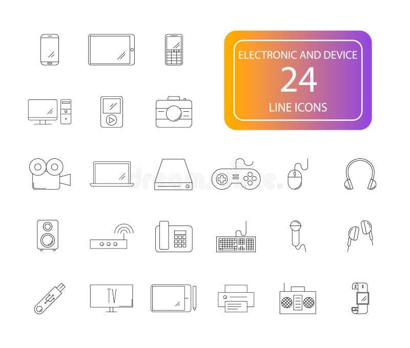 Linje symbolsuppsättning Elektronisk och apparatpacke stock illustrationer