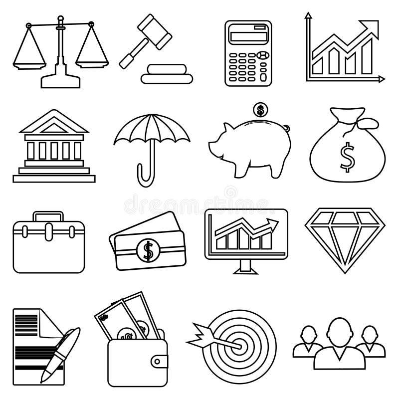 Linje symbolsuppsättning för affärsfinanspengar stock illustrationer