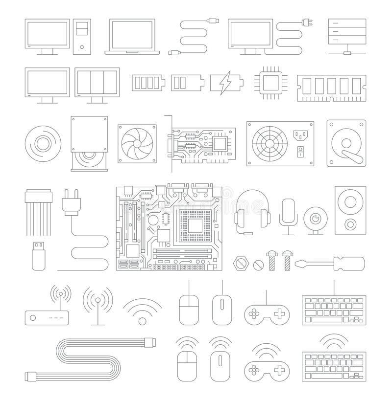 Linje symbolsuppsättning för datormaskinvara vektor illustrationer