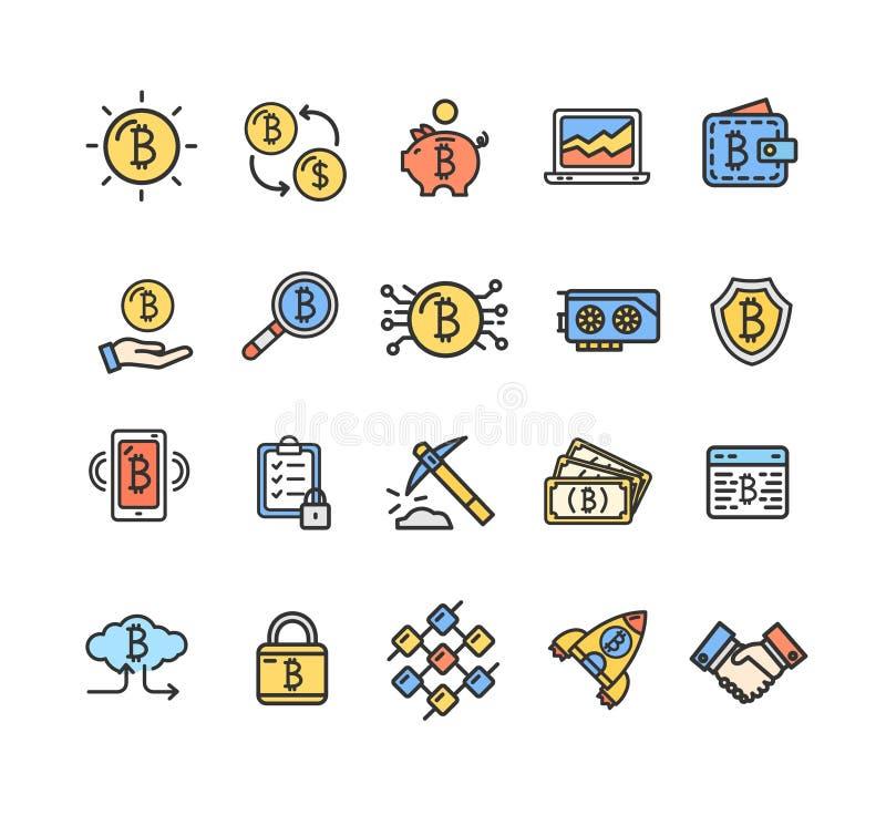 Linje symbolsuppsättning för färg för Bitcoin valutatecken tunn vektor royaltyfri illustrationer