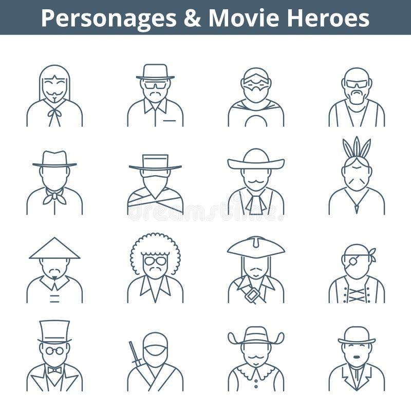 Linje symbolsuppsättning för folkfilmhjältar vektor illustrationer