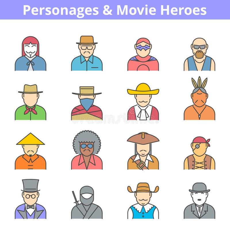 Linje symbolsuppsättning för folkfilmhjältar stock illustrationer