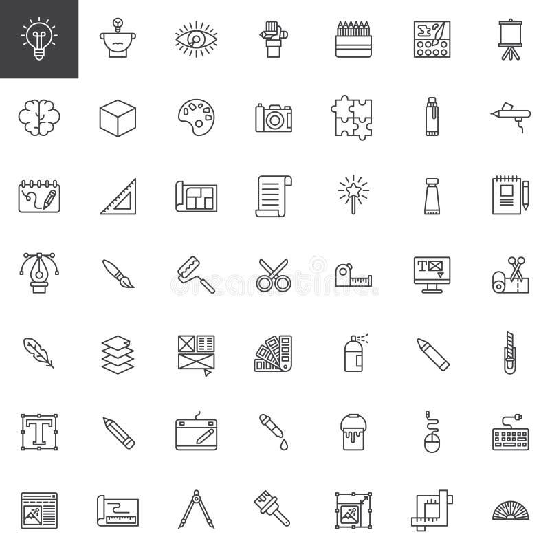 Linje symbolsuppsättning för hjälpmedel för grafisk design royaltyfri illustrationer