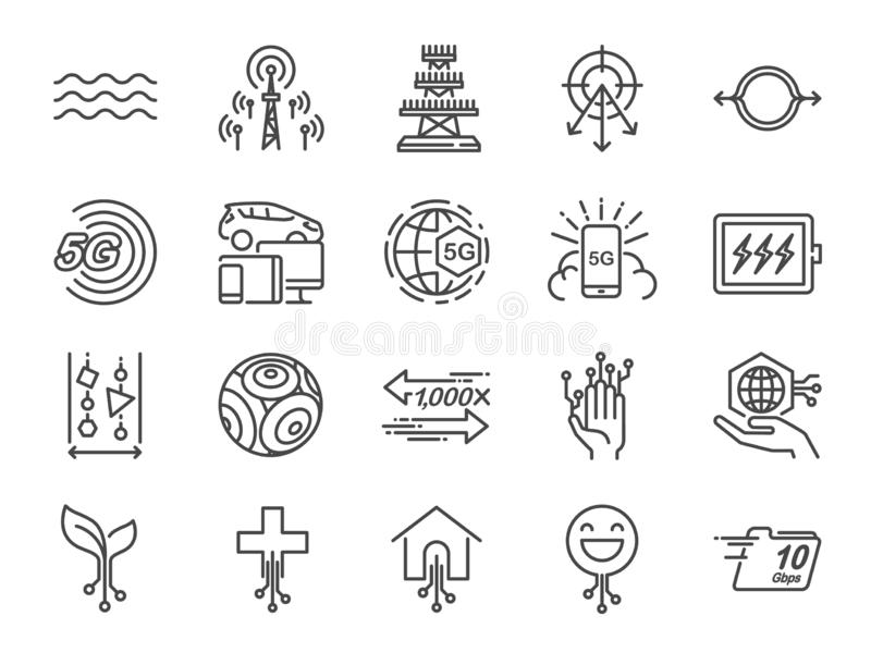 linje symbolsuppsättning för internet 5G Bland annat symboler som IOT, internet av saker, bandbredd, signal, apparater och mer royaltyfri illustrationer
