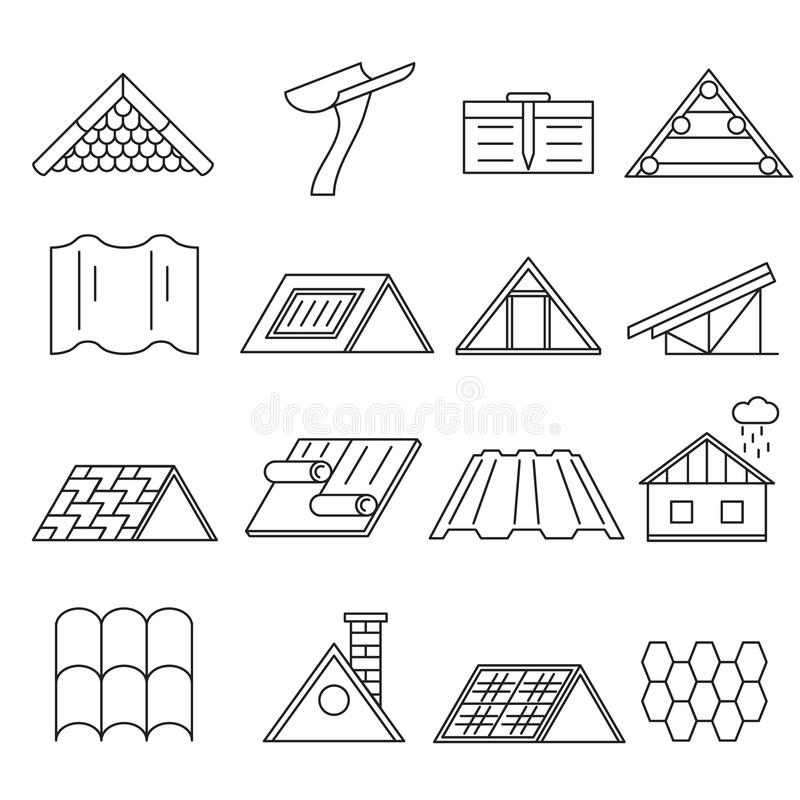 Linje symbolsuppsättning för konstruktion för begreppshustak tunn vektor stock illustrationer