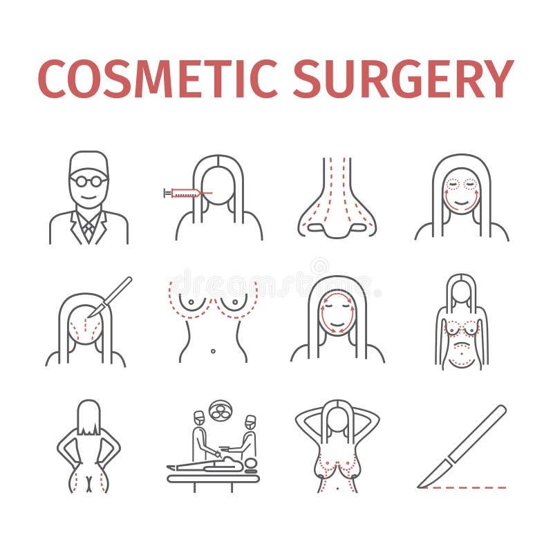 Linje symbolsuppsättning för kosmetisk kirurgi Vektorillustration för websites, tidskrifter, broschyrer vektor illustrationer