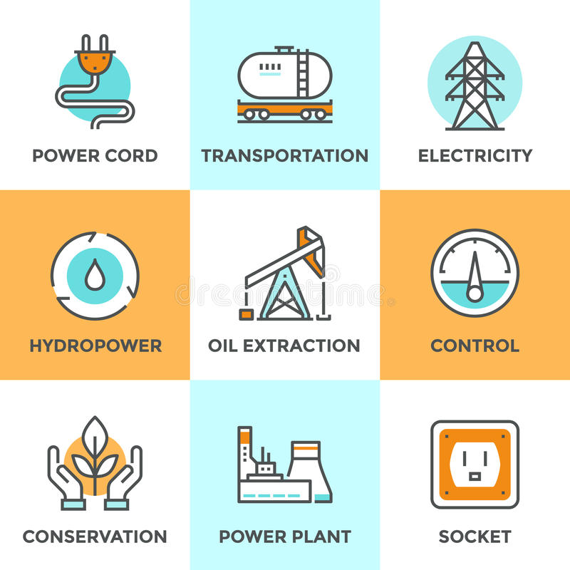 Linje symbolsuppsättning för maktbransch stock illustrationer