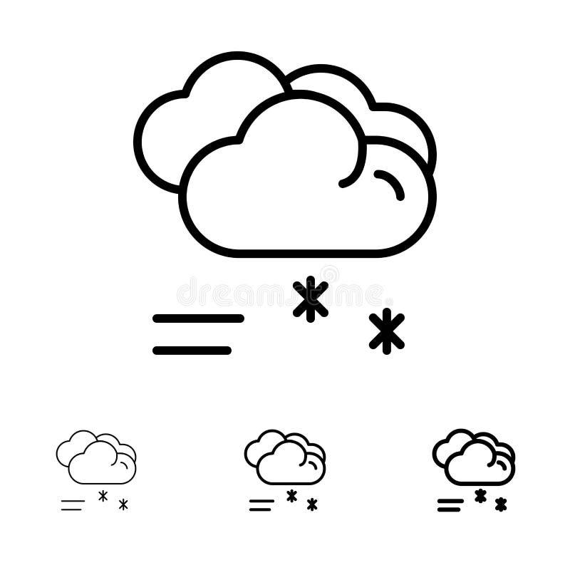 Linje symbolsuppsättning för regna, förutsett, regna regnigt väder för moln djärv och tunn svart vektor illustrationer