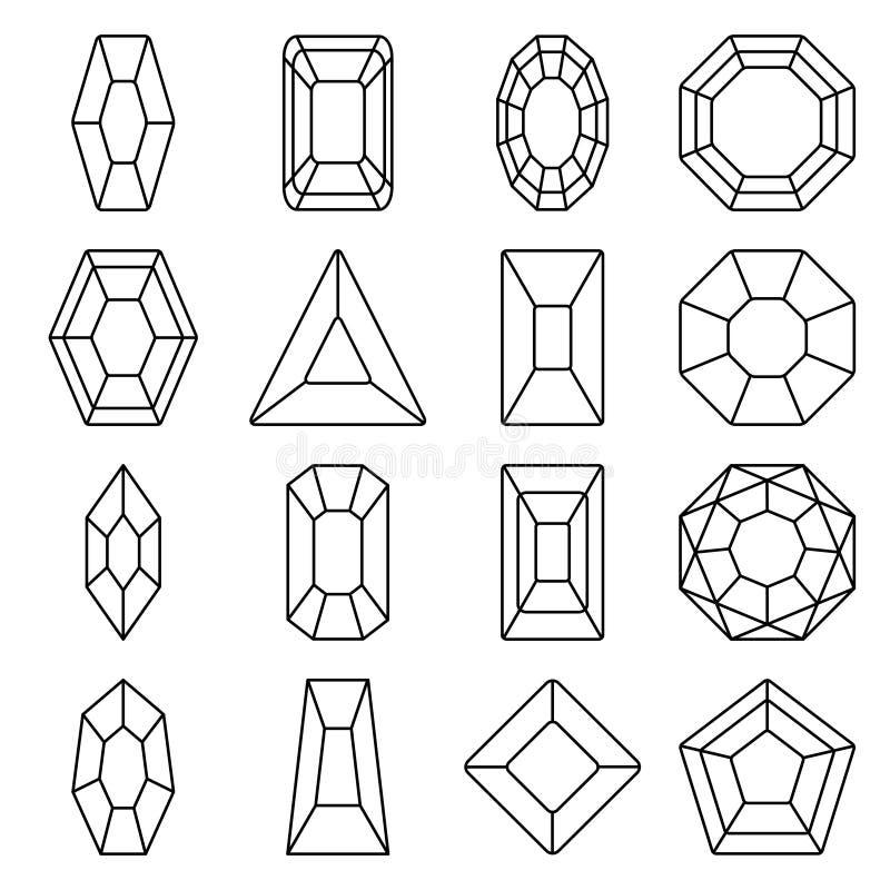 Linje symbolsuppsättning för sexton juvlar royaltyfri foto