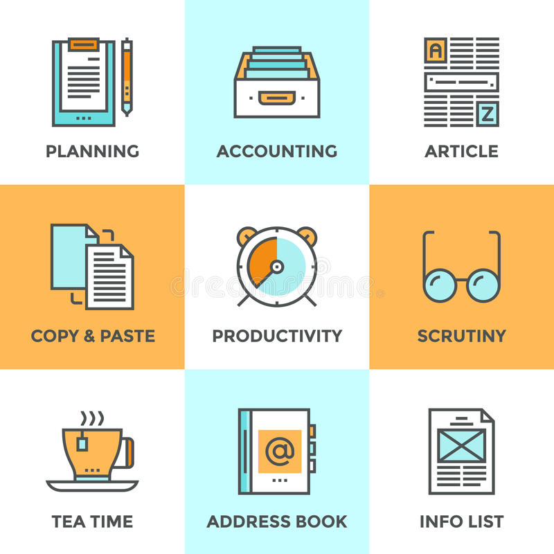 Linje symbolsuppsättning för skrivbordsarbete i regeringsställning stock illustrationer
