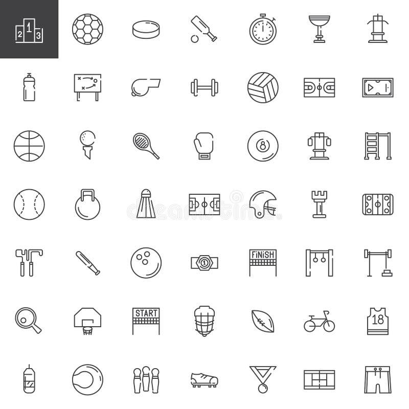 Linje symbolsuppsättning för sportutrustning stock illustrationer