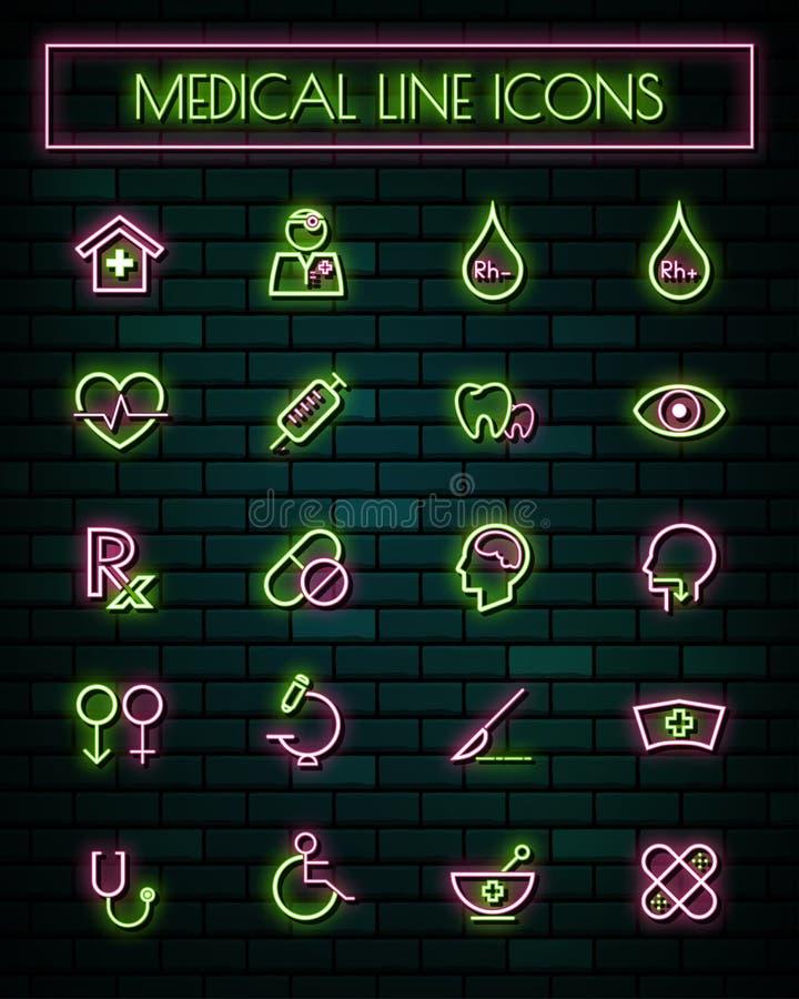 Linje symbolsuppsättning för tunt neon för läkarundersökning och för hjälpmedel glödande också vektor för coreldrawillustration stock illustrationer