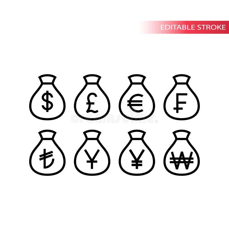 Linje symbolsuppsättning för valuta för pengarpåsevärld tunn Symboler för vektor för pengarsäcköversikt stock illustrationer