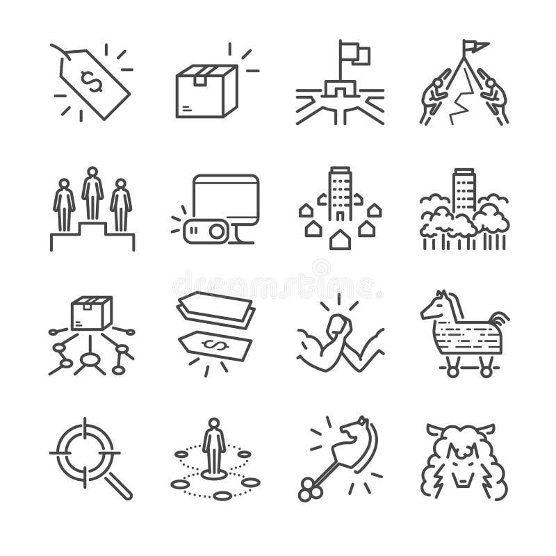 Linje symbolsuppsättning för vektor för affärsstrategi Inklusive symbolerna som strategi, konkurrent, produkt, pris och mer royaltyfri illustrationer