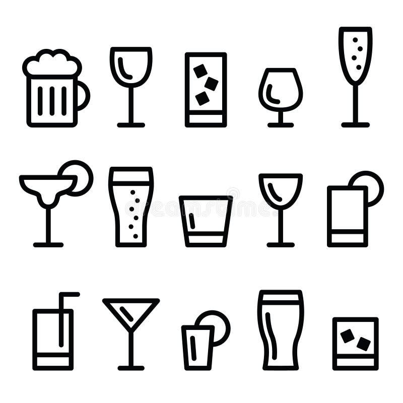 Linje symbolsuppsättning för vektor för drinkalkoholdryck stock illustrationer