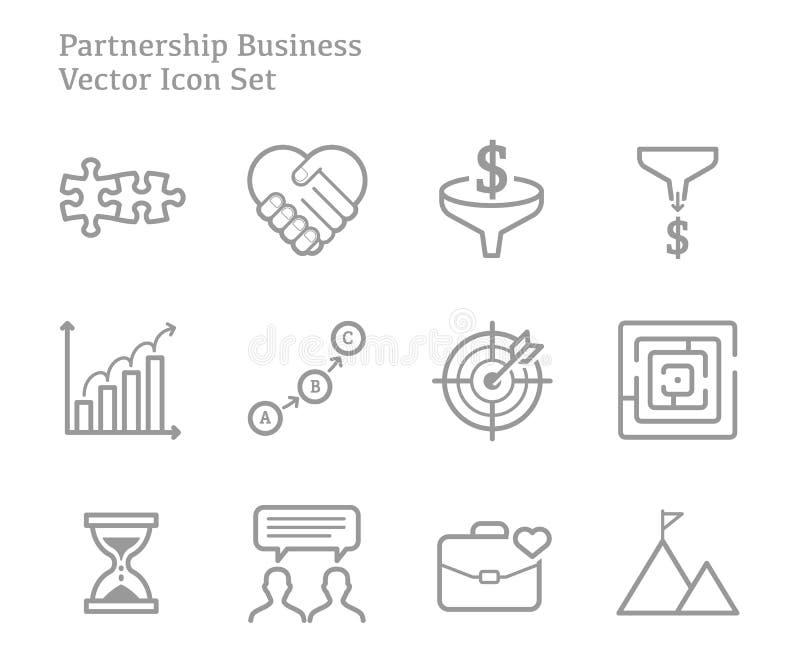 Linje symbolsuppsättning för vektor för partnerskapaffär lyckad royaltyfri illustrationer