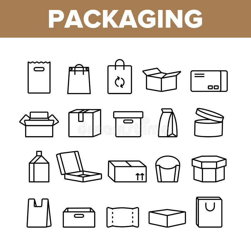 Linje symbolsuppsättning för vektor för förpackande typer tunn royaltyfri illustrationer
