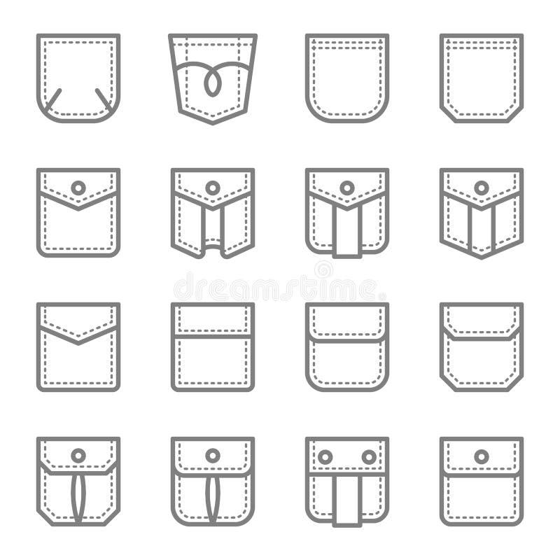 Linje symbolsuppsättning för vektor för stil för lappfack Innehåller sådana symboler som den vanliga klänningen, den klassiska kl royaltyfri illustrationer