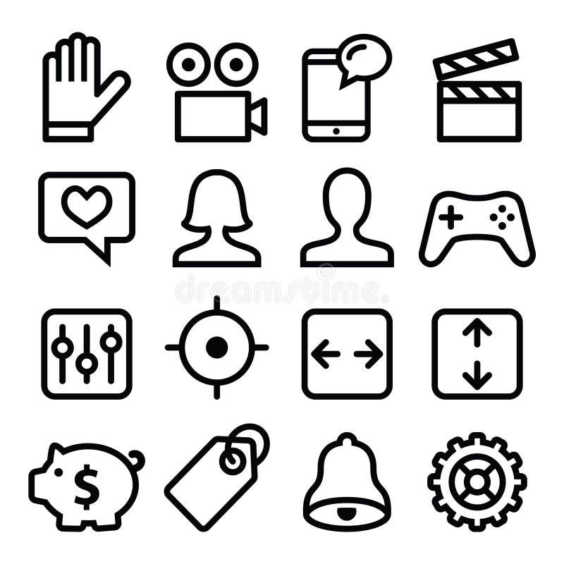 Linje symbolsuppsättning för Websitemenynavigering royaltyfri illustrationer
