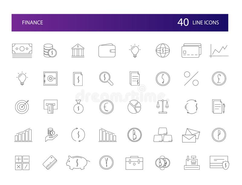 Linje symbolsuppsättning Finanspacke stock illustrationer