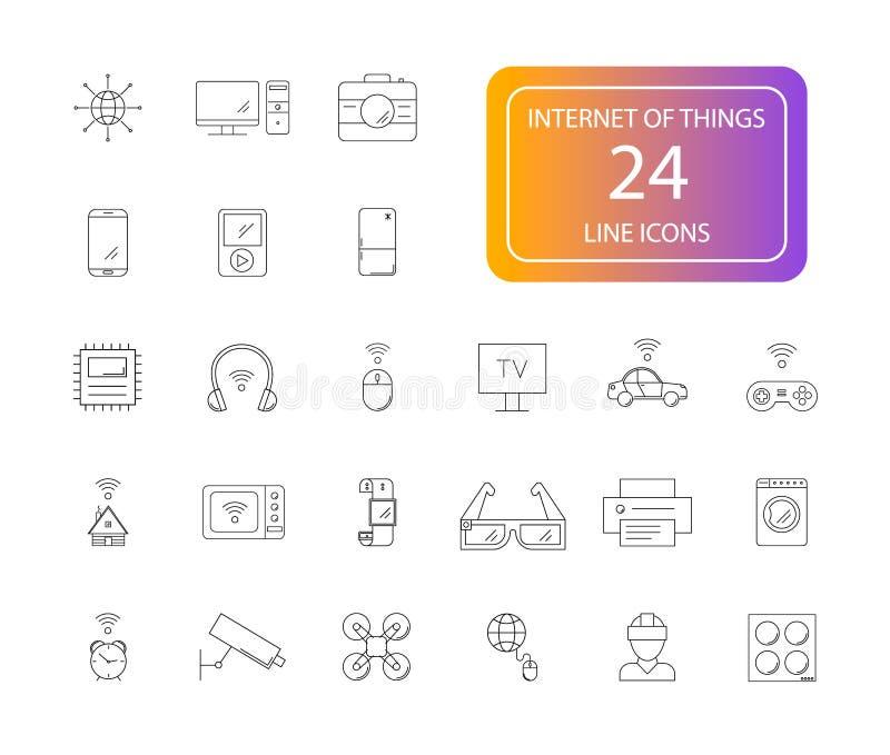 Linje symbolsuppsättning Internet av sakerpacken stock illustrationer