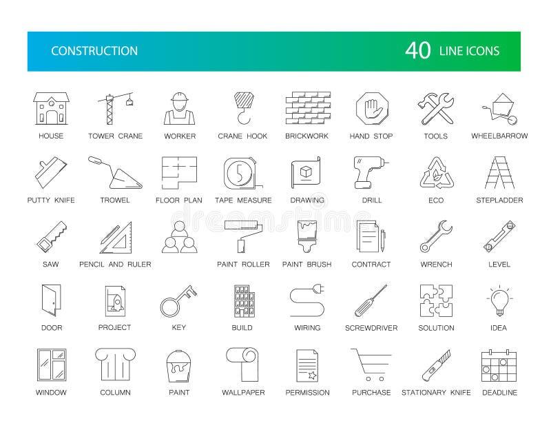 Linje symbolsuppsättning Konstruktionspacke vektor illustrationer