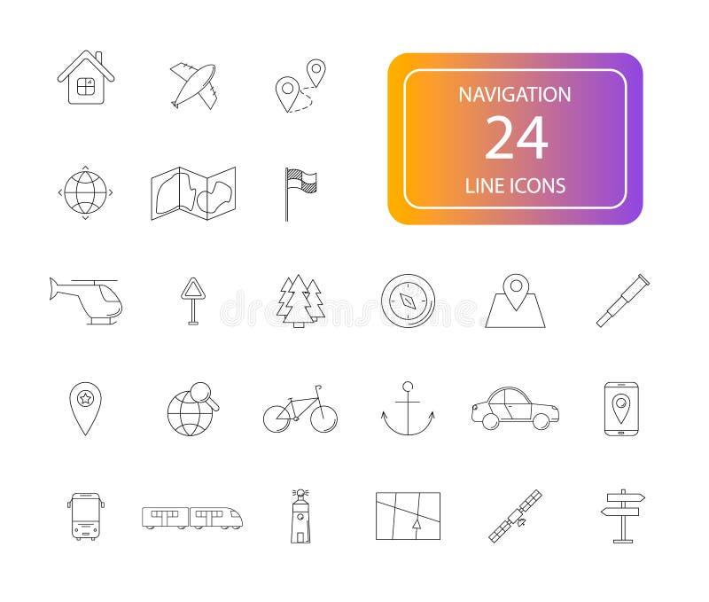 Linje symbolsuppsättning Navigeringpacke vektor illustrationer