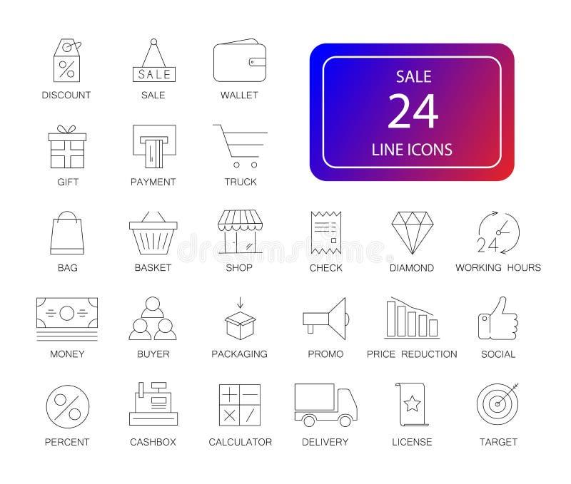 Linje symbolsuppsättning Sale packe royaltyfri illustrationer