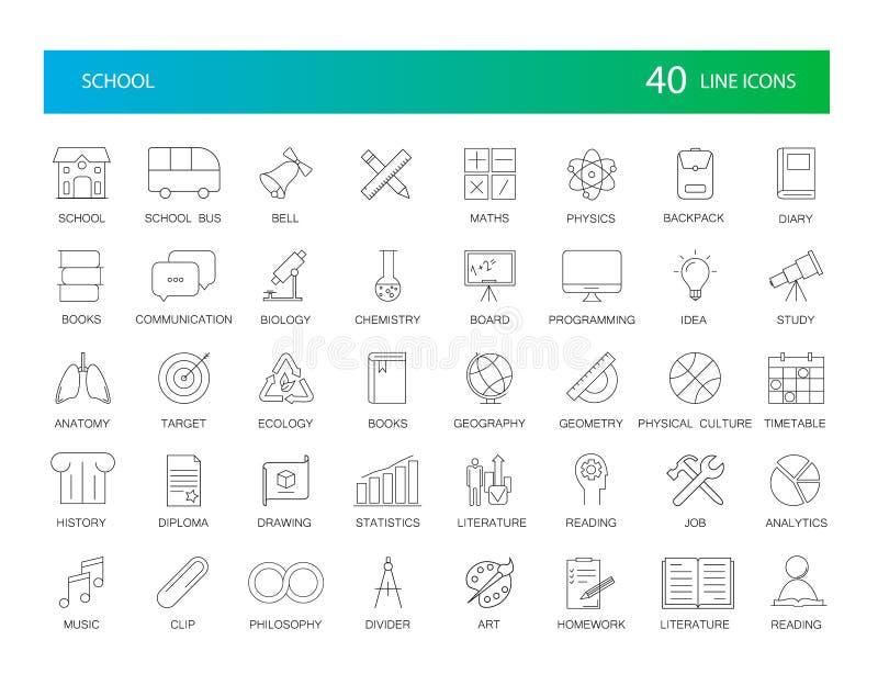 Linje symbolsuppsättning Skolapacke arkivfoton