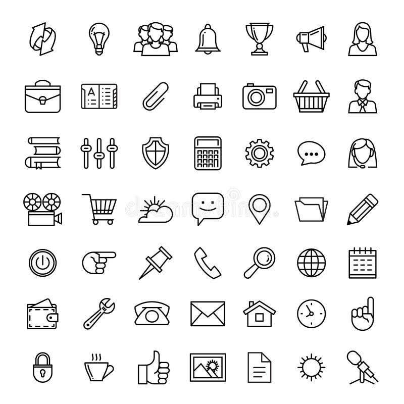 Linje symbolsuppsättning vektor för affärssymbolsillustration royaltyfri illustrationer
